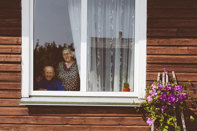 grandparents portrait at home