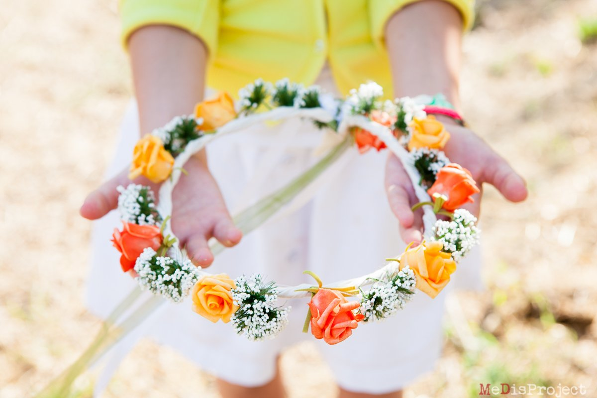 girl showing a flower crown