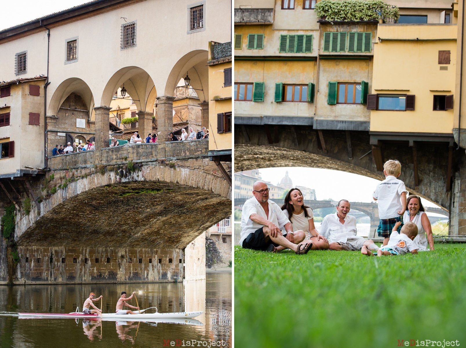 family of 6 sitting on the grass under ponte vecchio in florence