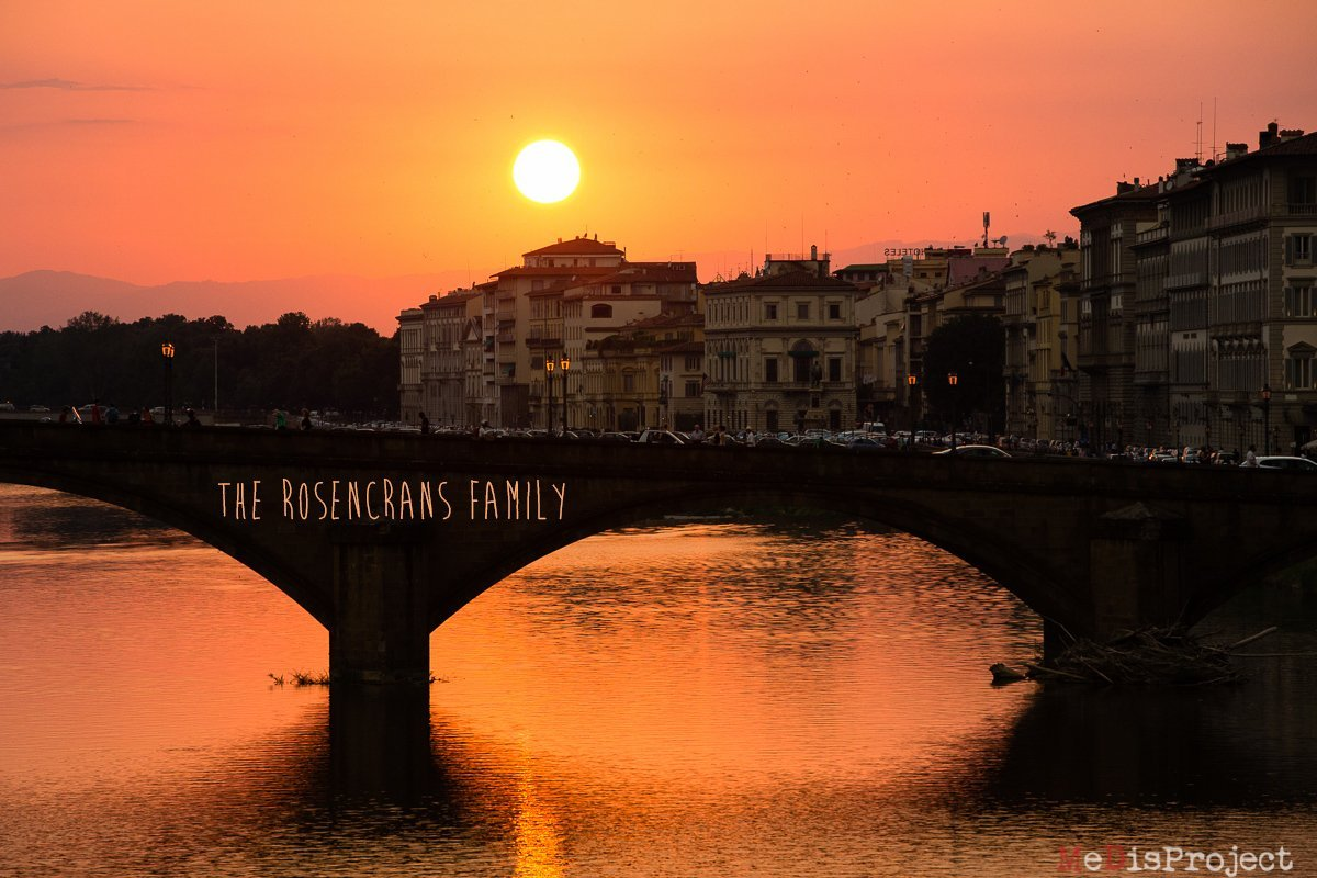 sunset on Arno river in florence