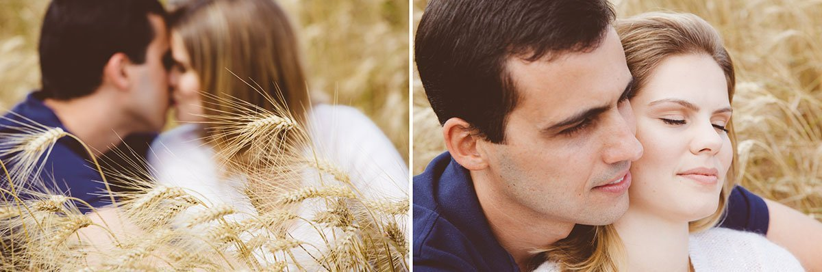 romantic couple in the fields of wheat