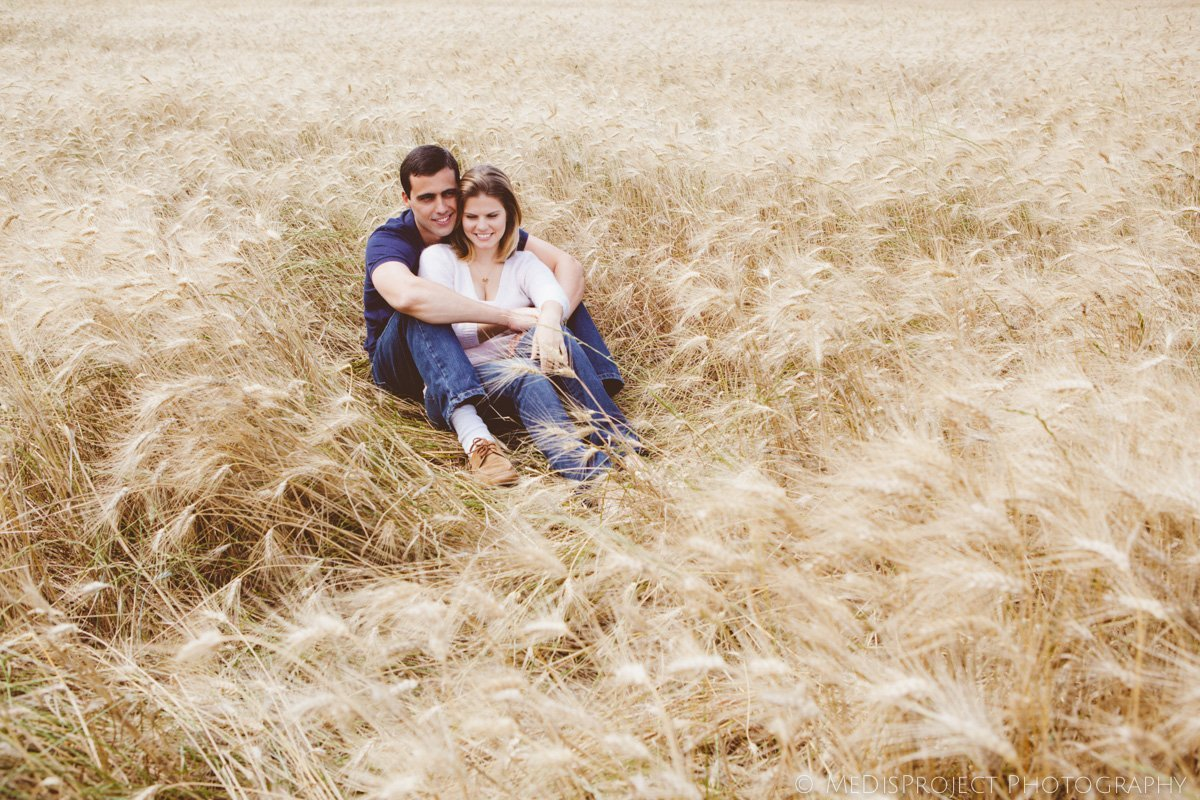 romantic couple in a barley field