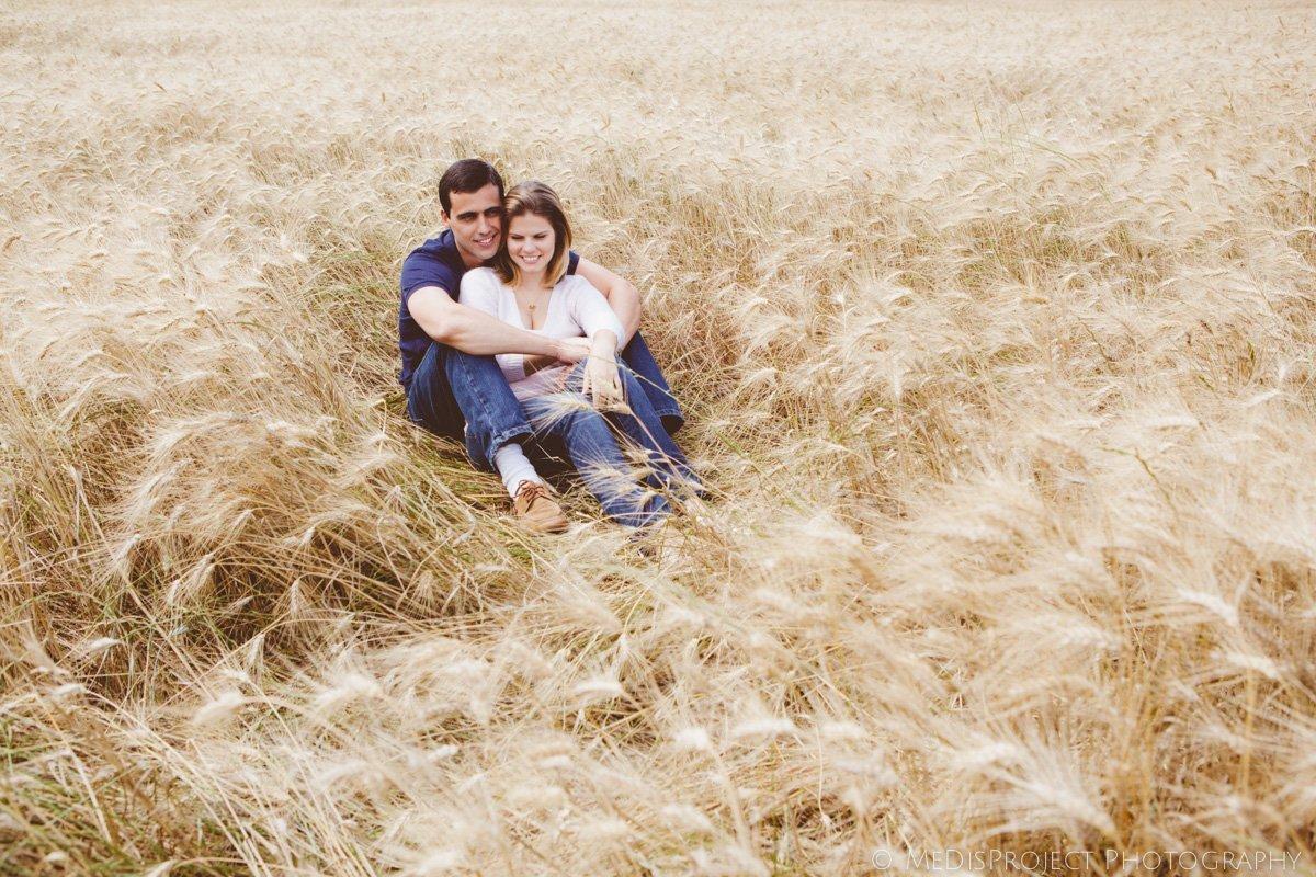 romantic couple in a barley field