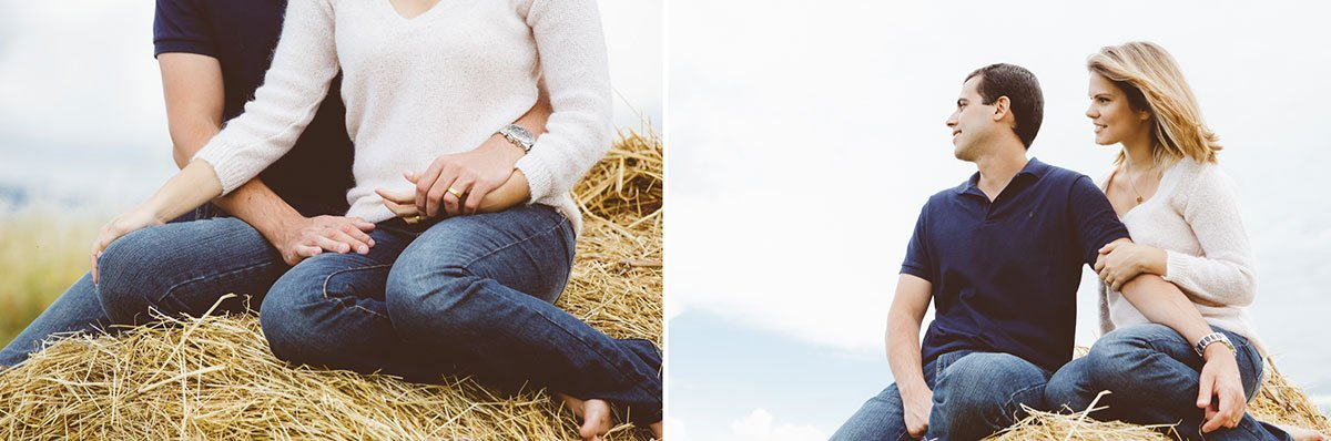 a romantic couple on hay bales