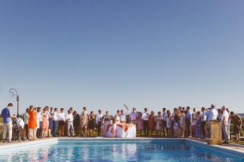 Outdoor summer ceremony at Il Mattone in Ulignano