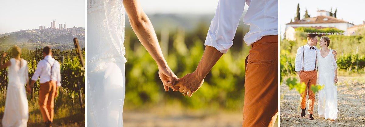 bride and groom walking in a vineyard