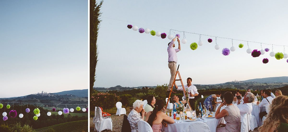 outdoor wedding decorations at Agriturismo il Mattone