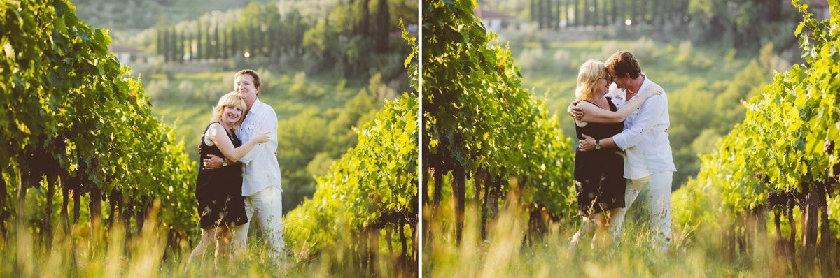 lovers embrace in the vineyards