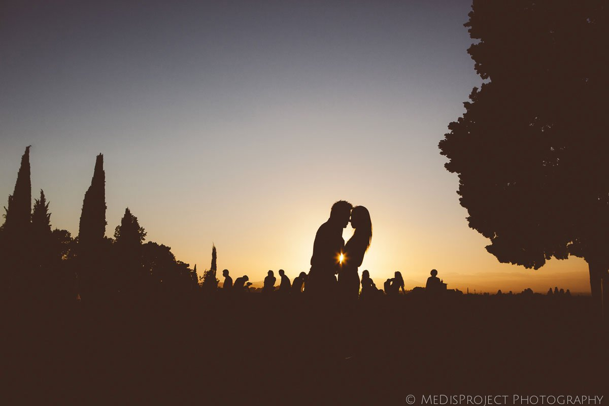 silhouette of a couple in warm sunset light