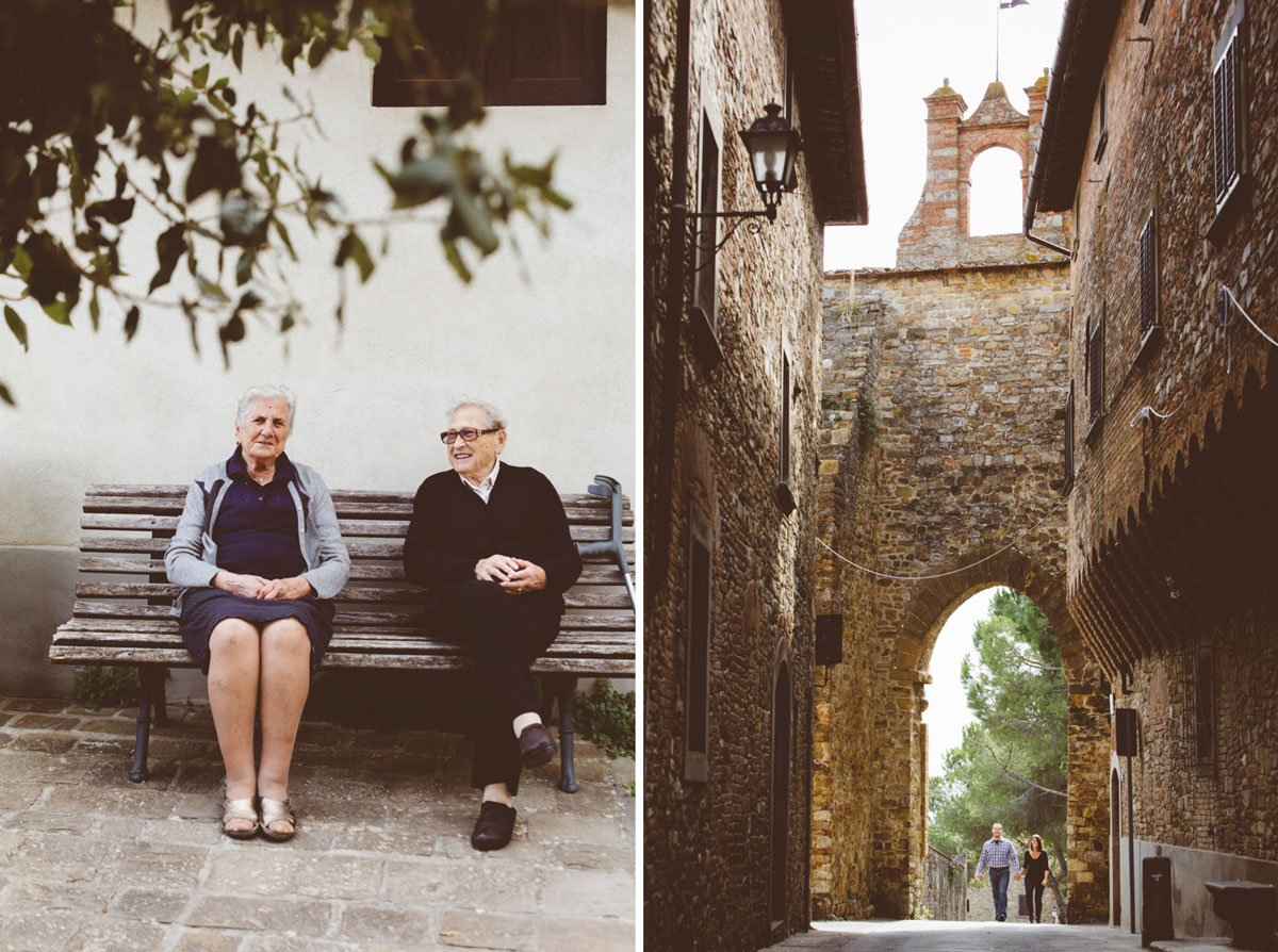 old ladies in medieval Tuscan town