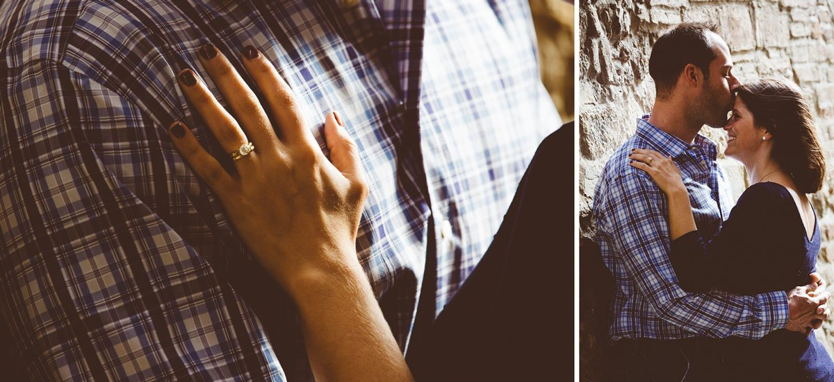 detail of a woman's engagement ring on a man's chest