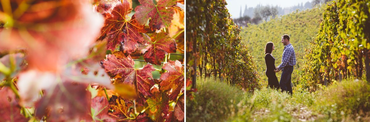 couple in the vineyards at fall, detail of red leaves
