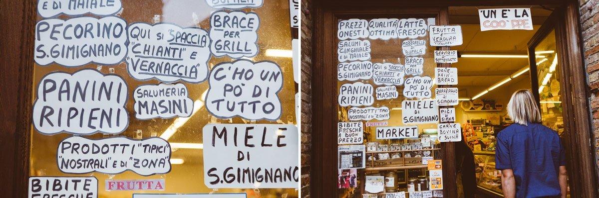 funny writings on a food shop window in san gimignano