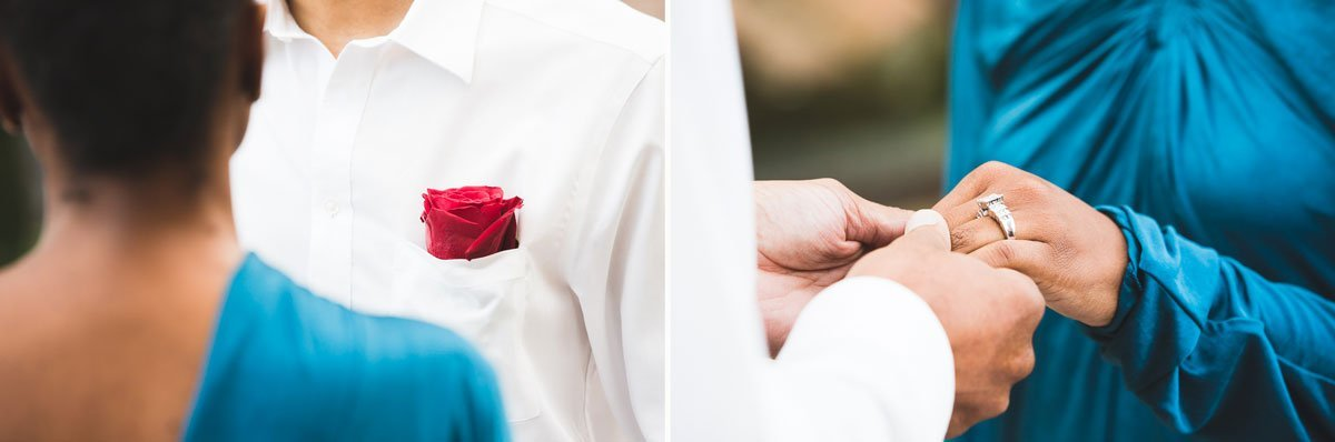 exchanging the rings during the wedding ceremony