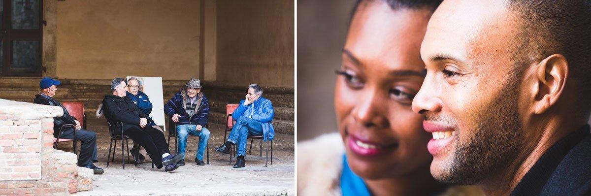 old men chatting in San Gimignano main square