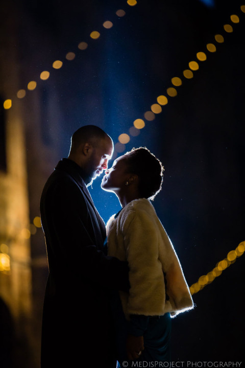 winter spouses and the evening lights of the city