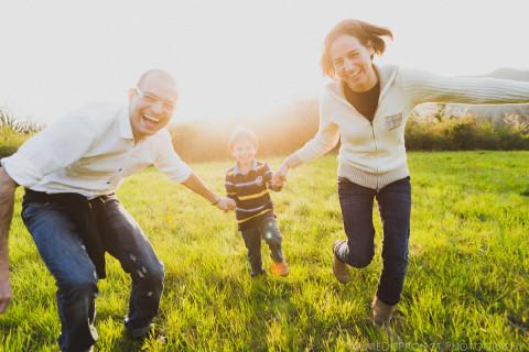 family running towards the camera