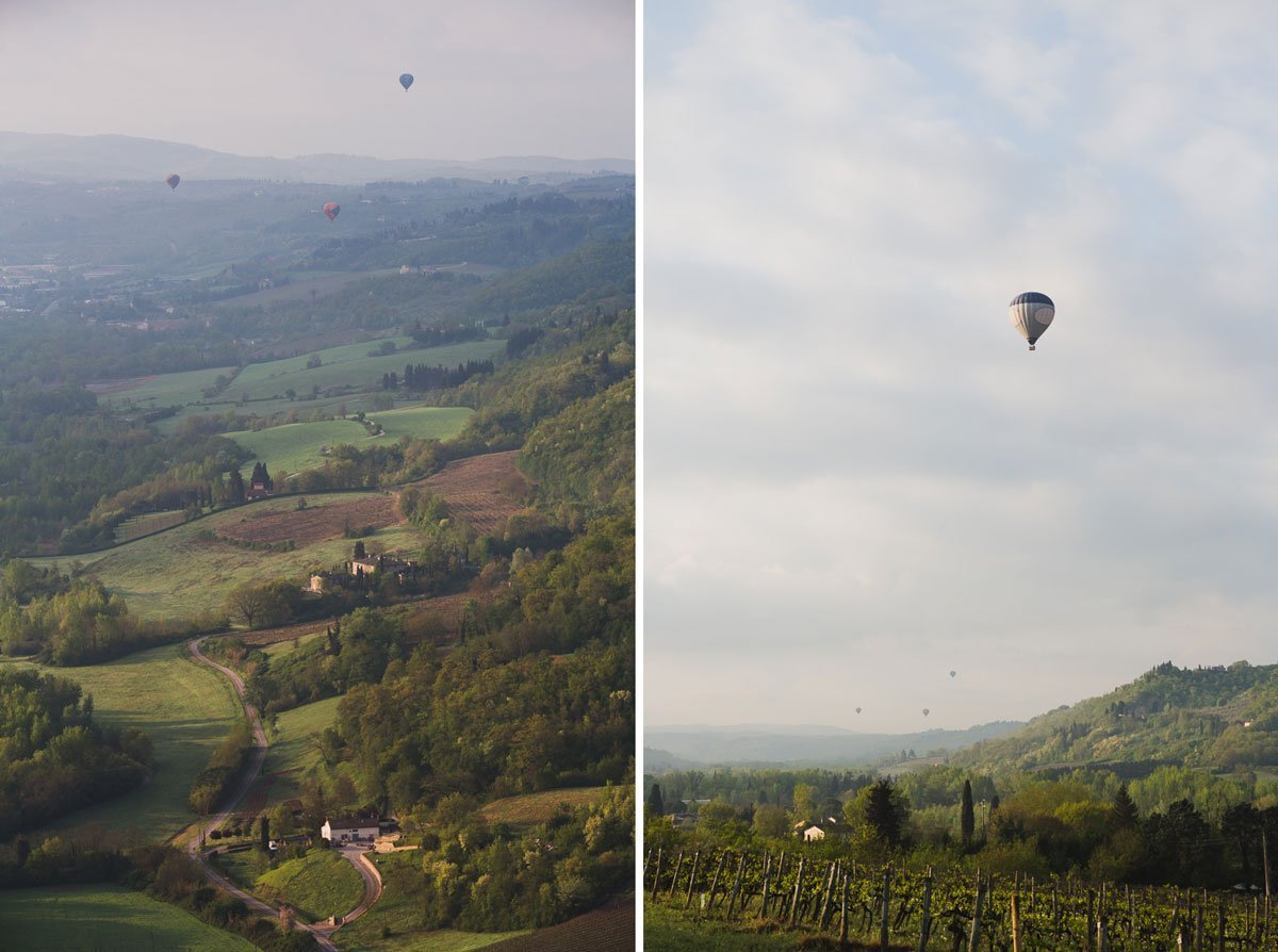 hot-air balloon over tuscan country