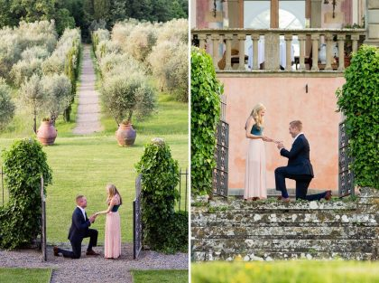 Surprise Marriage Proposal in Florence | Engagement photo session at Villa Mangiacane
