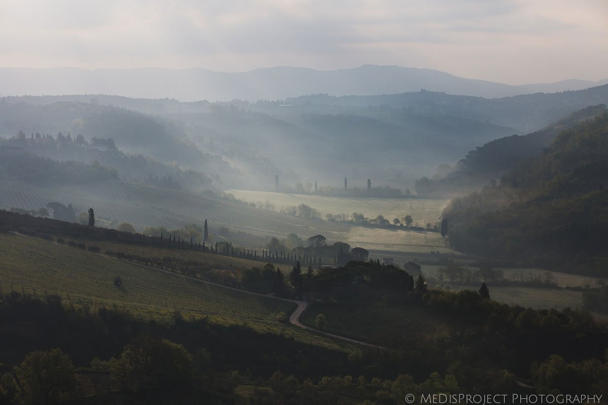 early morning tuscan landscape