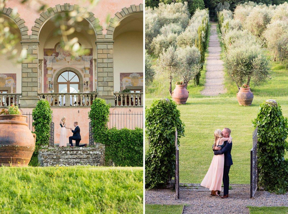 surprise marriage proposal at Villa Mangiacane in Florence