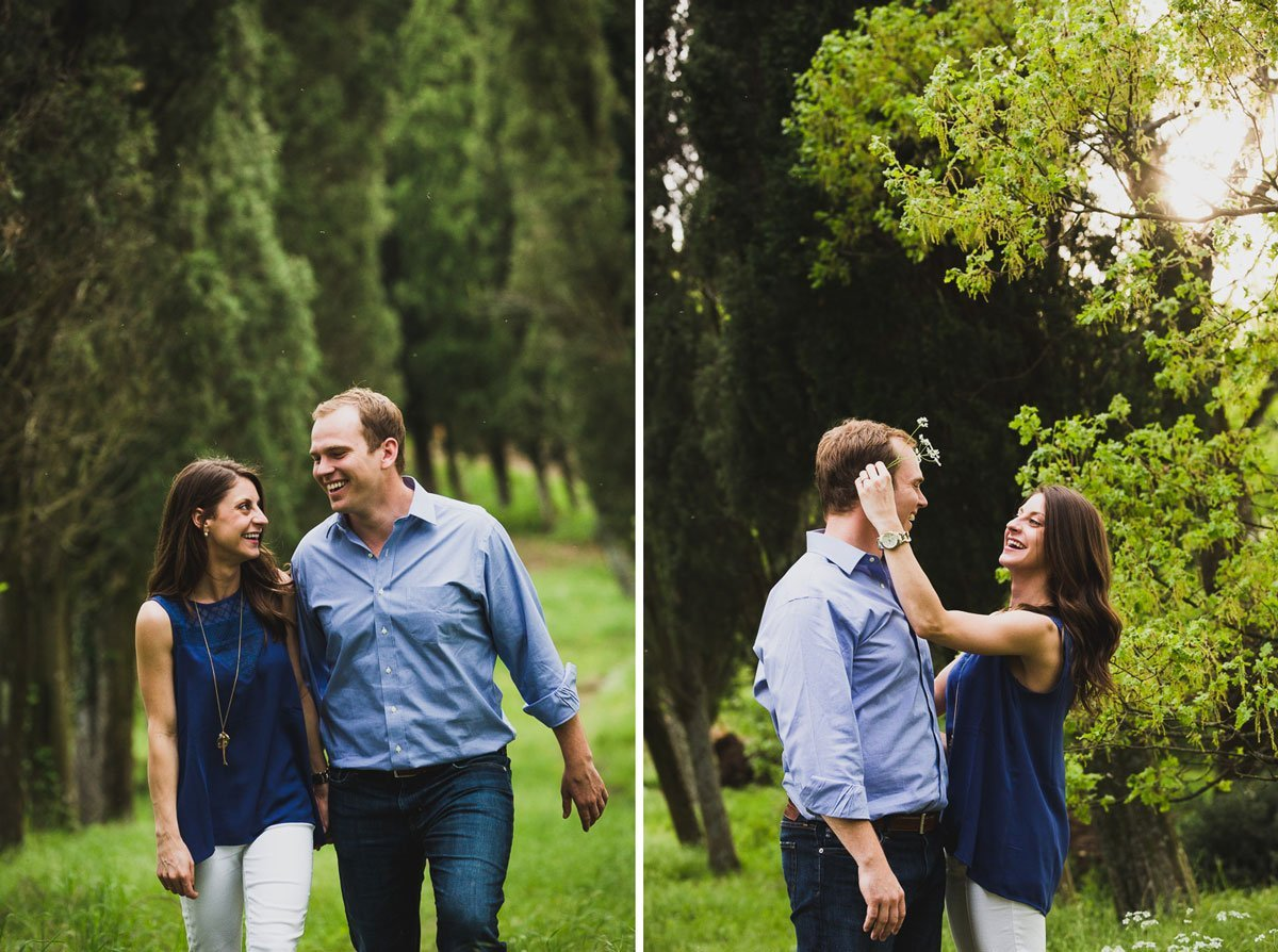 beautiful young couple in the green nature