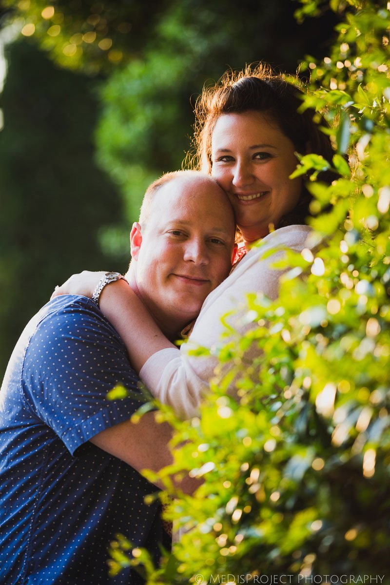 portrait of two lovers on green background