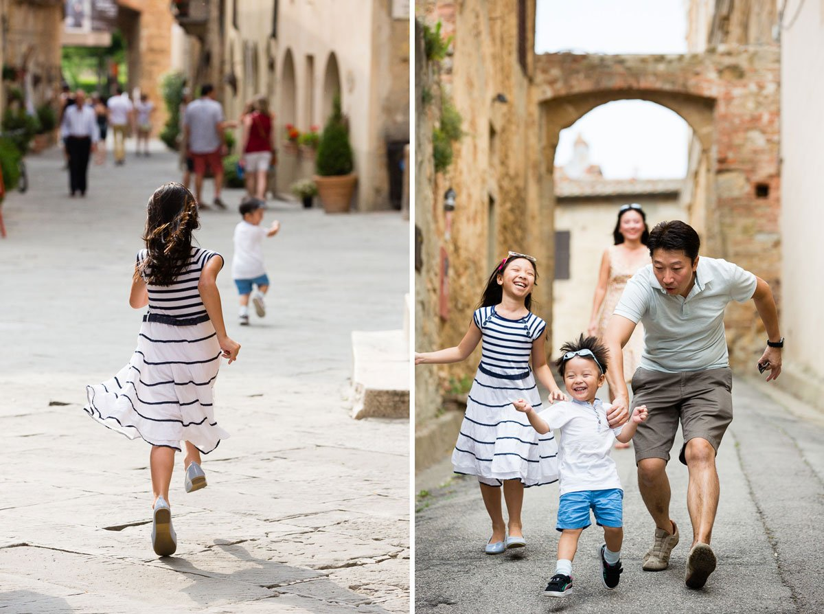 Oriental kids playing in the streets of Pienza
