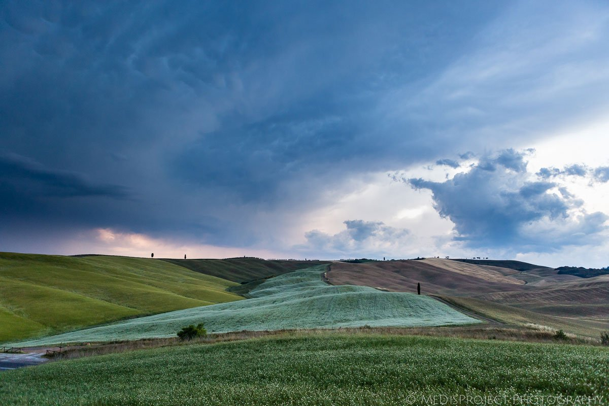 summer storm over the Tuscan fields