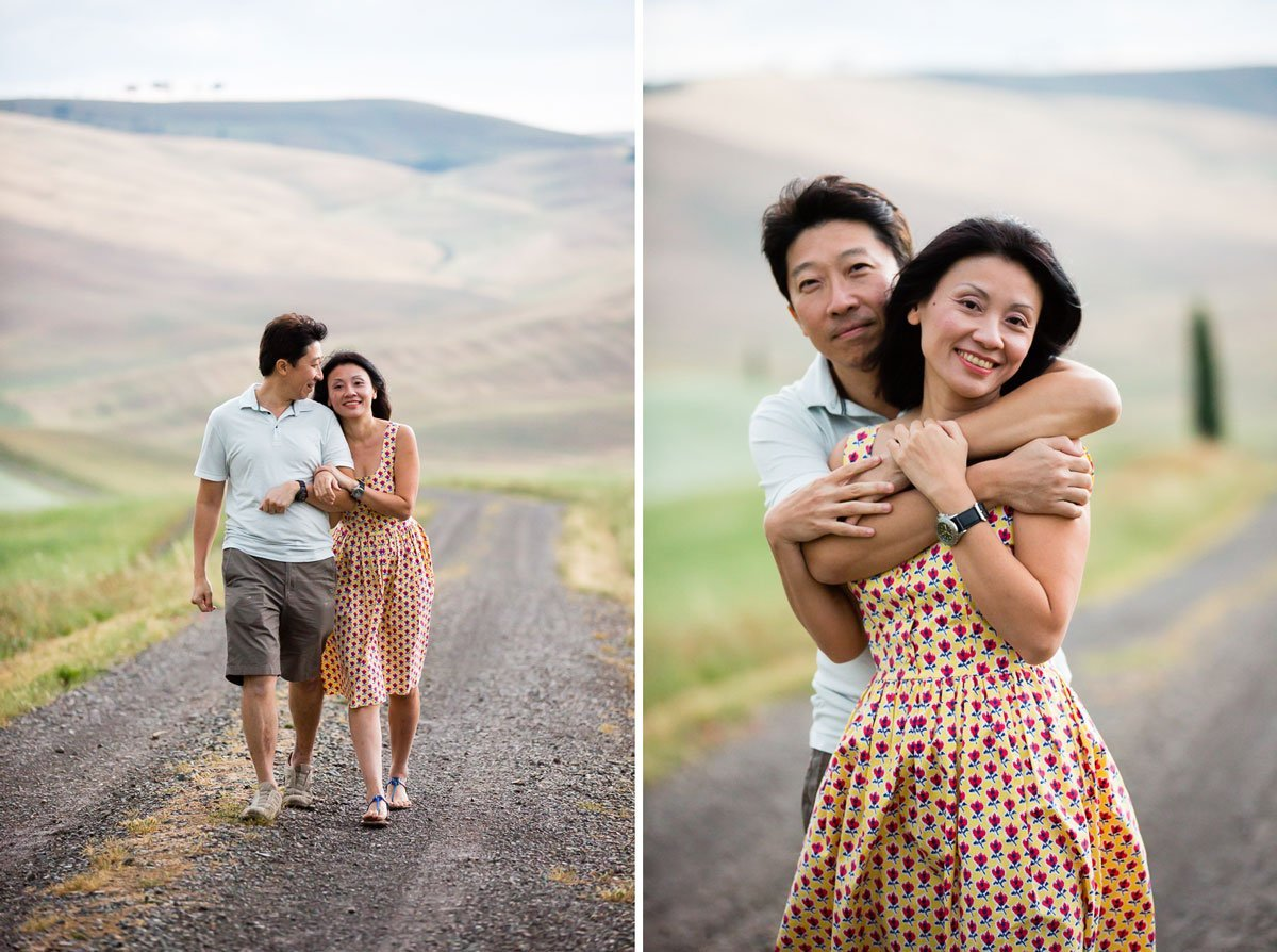 oriental couple portraits walking in the Tuscan countryside