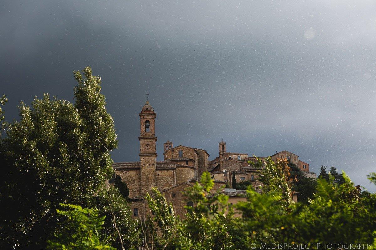 Summer rain falling over Montepulciano, Tuscany