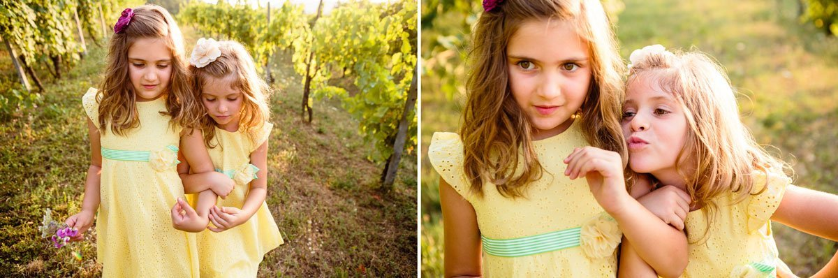 little girls dressed in yellow playing in the vineyard