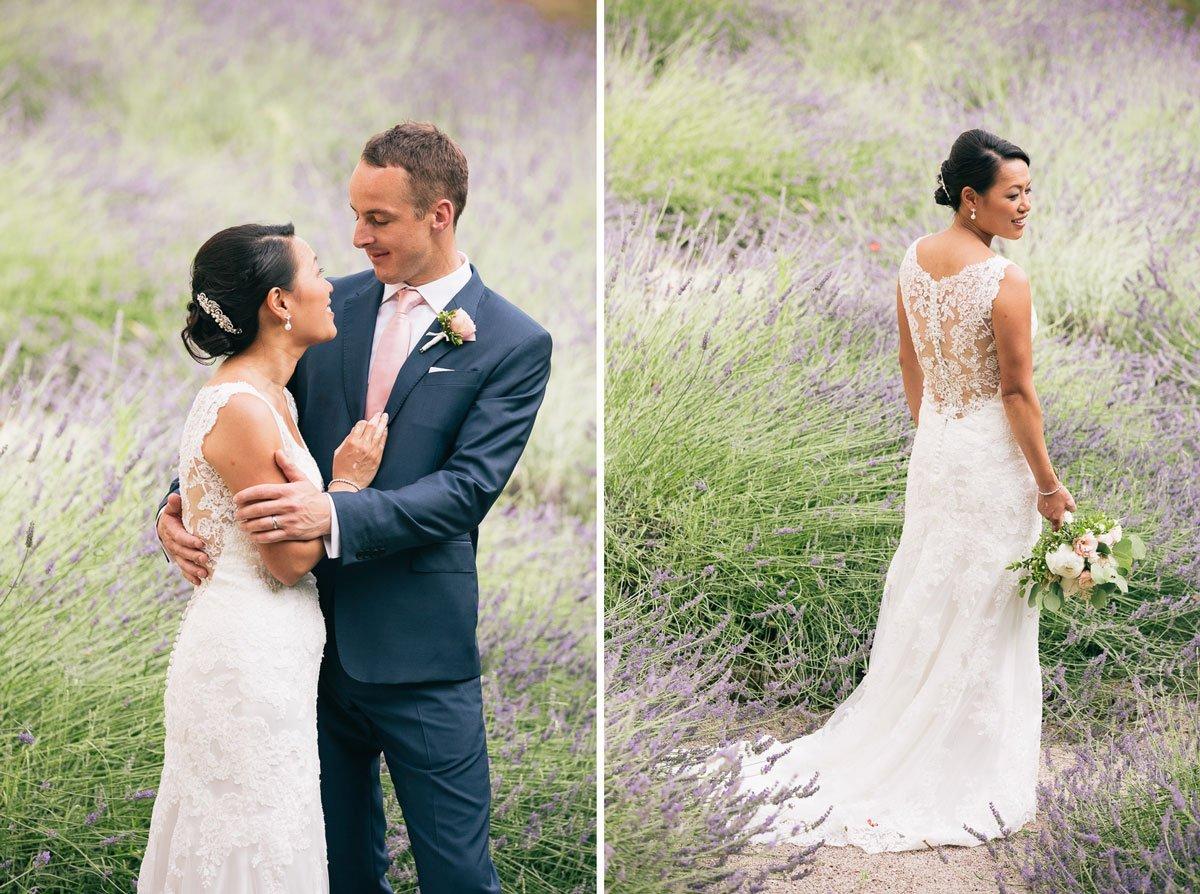 oriental bride standing in a lavender field