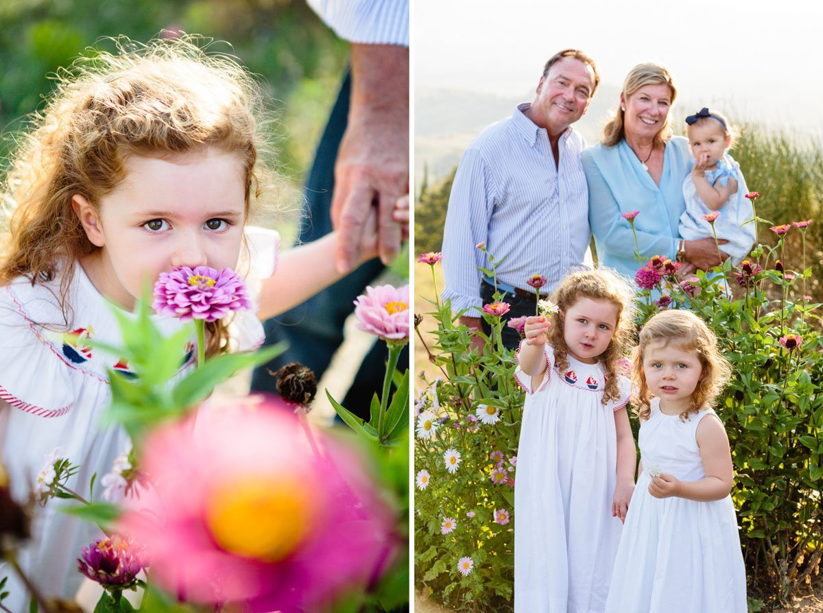 little girls and grandparents portrait with colorful flowers