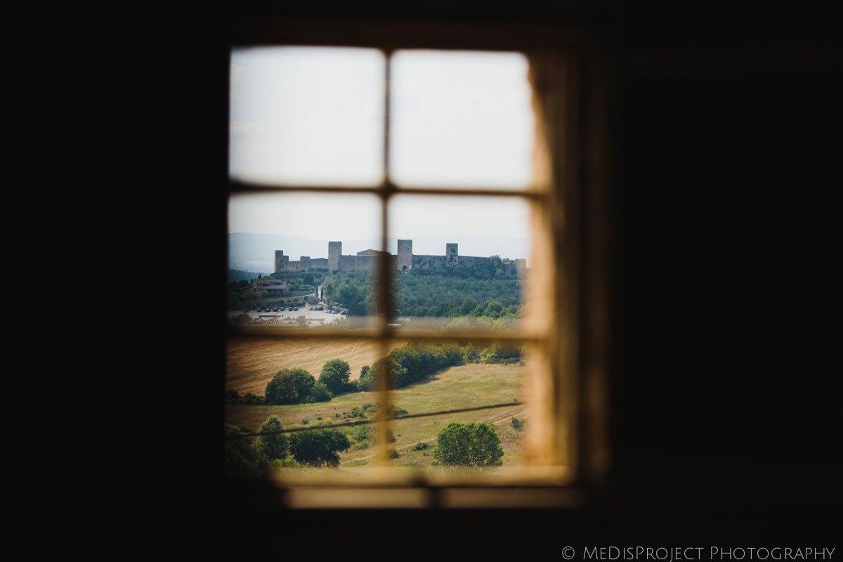Monteriggioni seen from a window in Stomennano