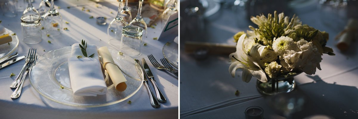 table decorations for a romantic outdoor wedding dinner in Stomennano