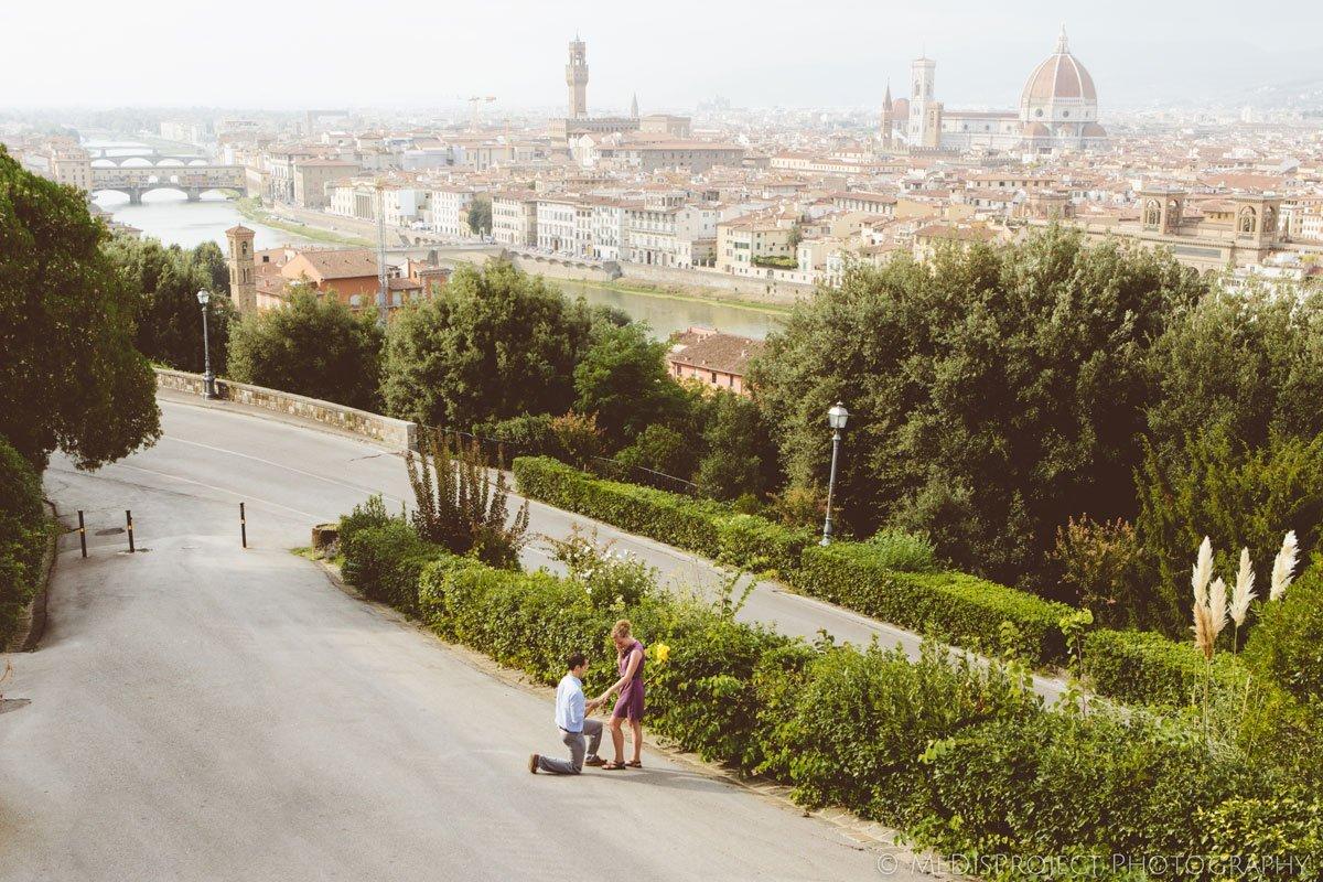 Surprise wedding proposal in Florence