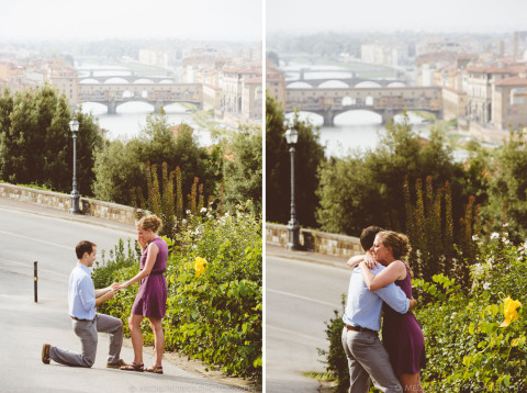 man getting on his knee in Florence for a surprise wedding proposal