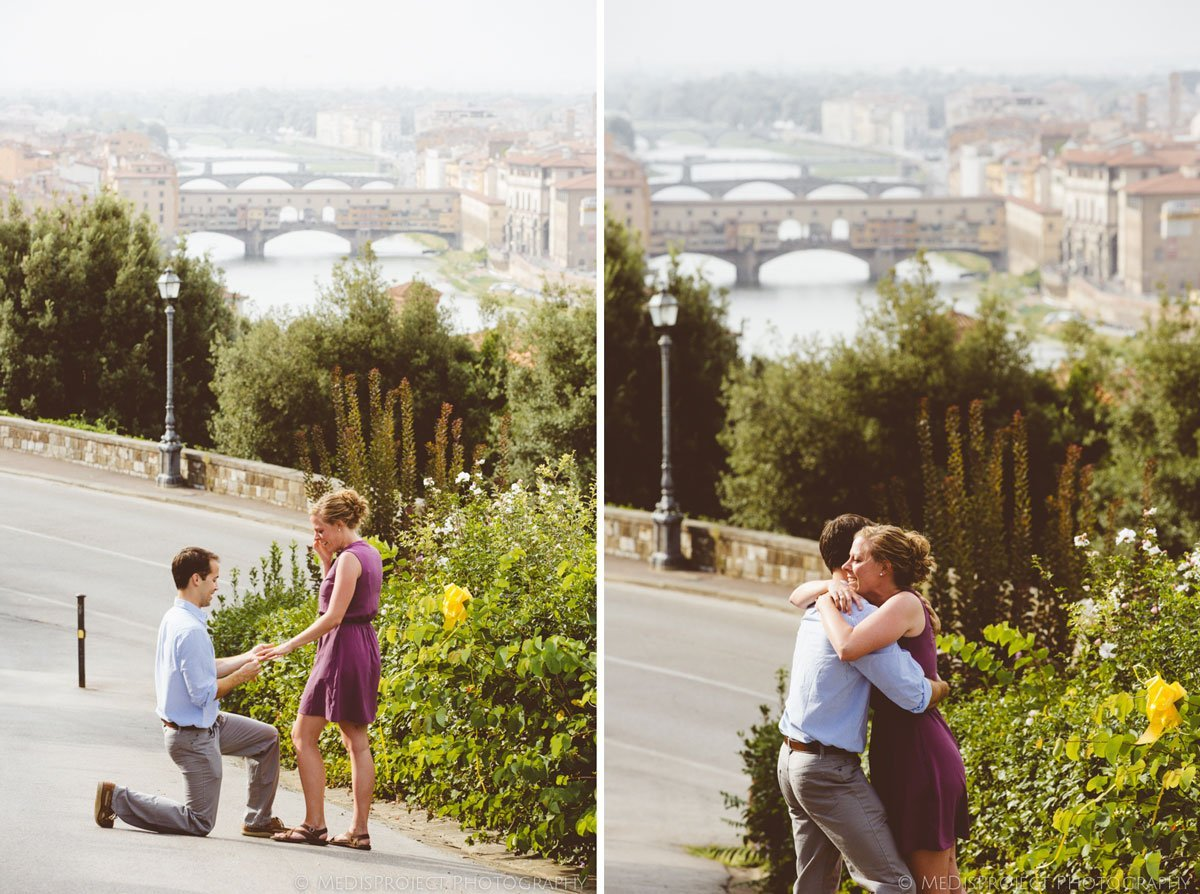 Surprise wedding proposal photographers in Florence