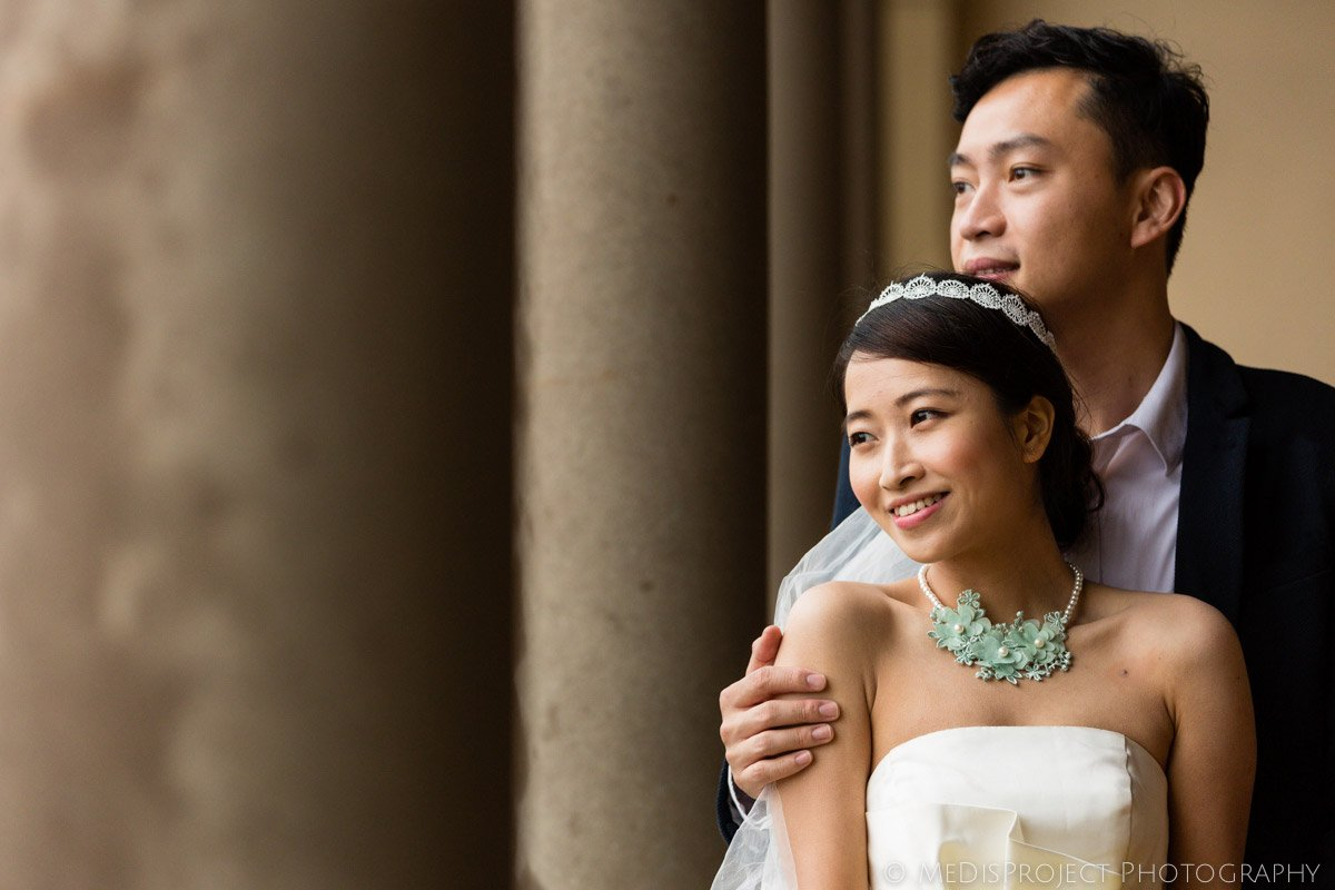 Chinese bride and groom portrait in Villa Agape