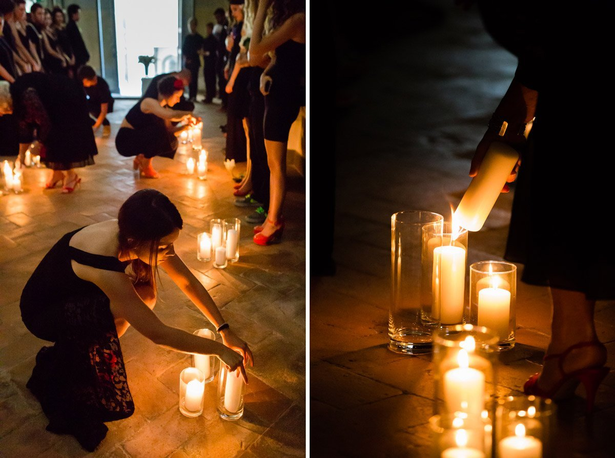 candle light alternative ceremony in a little chapel at Antico Spedale del Bigallo, Florence