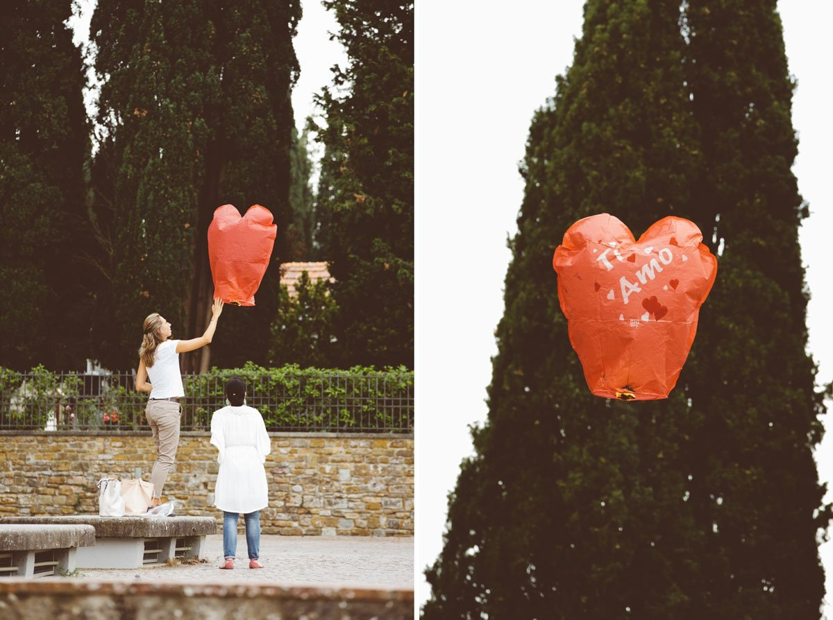 red heart-shaped chinese flying lanterns in Florence