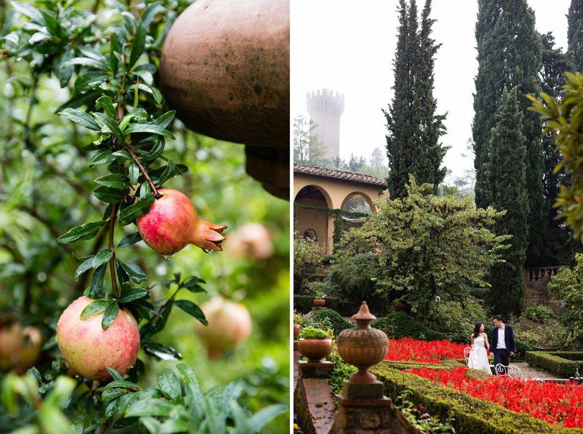 newlyweds in Villa Agape garden in autumn