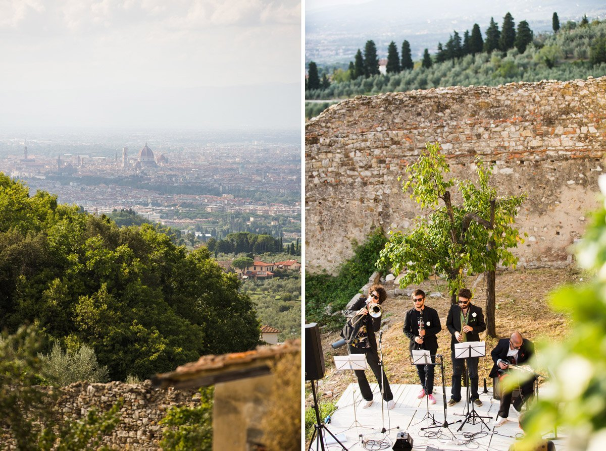 Golfo Mistico swing band playing during a wedding at Antico Spedale del Bigallo in Florence