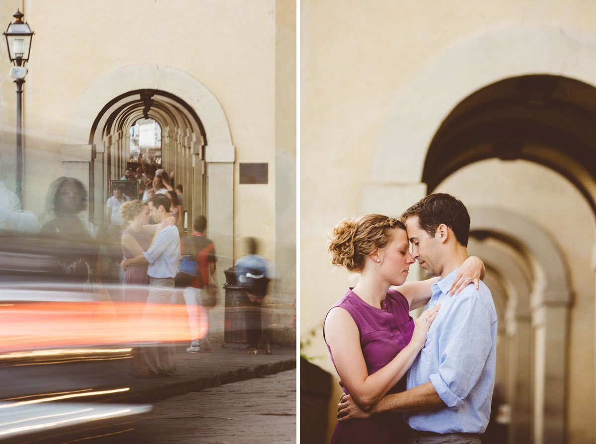 long exposure of a young engaged couple next to Ponte vecchio in Florence