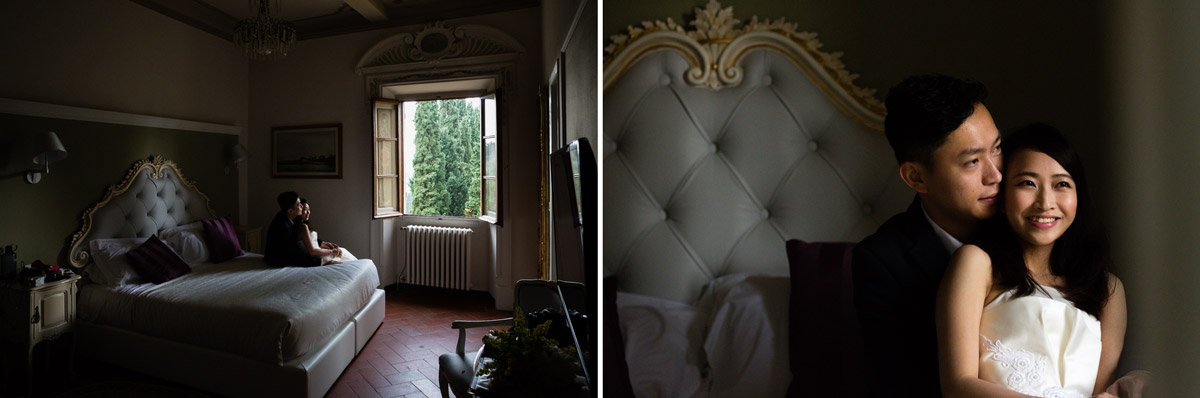 Chinese couple in their room in Villa Agape, Florence