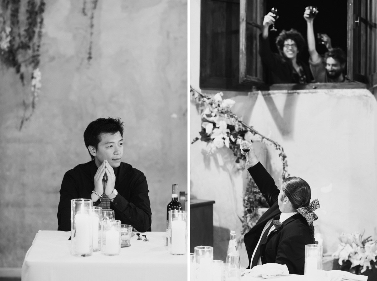 black and white portraits fo guests during an Italian wedding reception