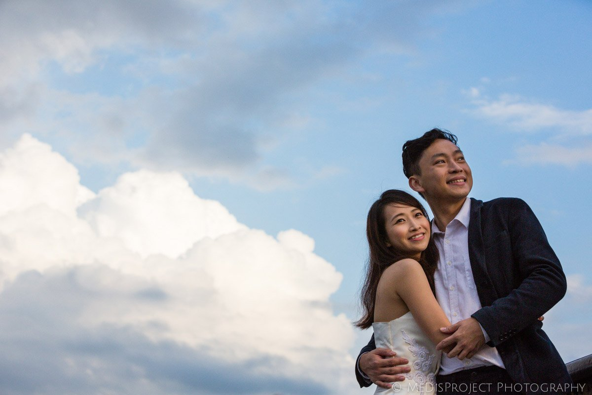 oriental couple at Piazzale Michelangelo in Florence