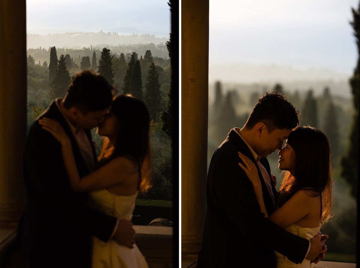 bride and groom kissing in the garden of Villa Agape during golden hour
