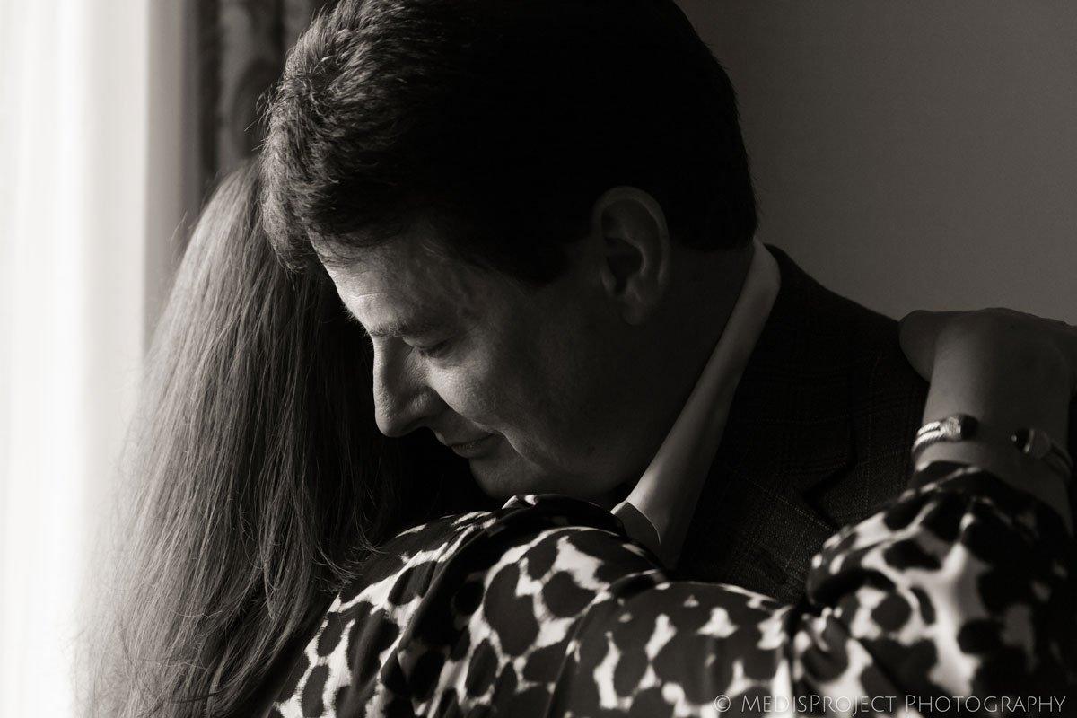 black and white image of a senior couple